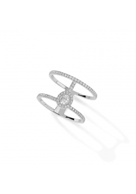 Messika Ring 2 Rows Pavé White Gold