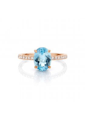 SLAETS Fine Jewellery Ring oval aquamarine and diamonds, 18kt rose gold