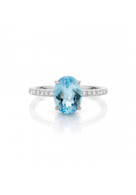 SLAETS Fine Jewellery Ring oval aquamarine and diamonds, 18kt white gold