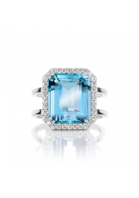 SLAETS Fine Jewellery One-of-a-kind Aquamarine Ring with Diamonds