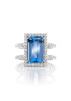 SLAETS Fine Jewellery One-of-a-kind Santa Maria Aquamarine Ring with Diamonds