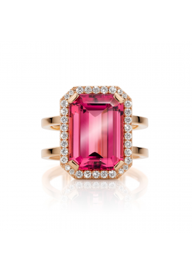 SLAETS Fine Jewellery One-of-a-kind Red Tourmaline Ring with Diamonds * VERKOCHT