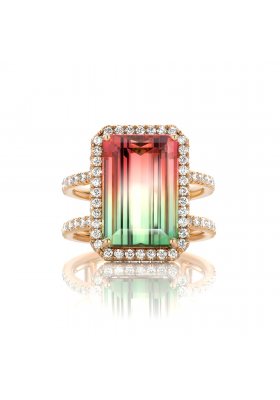 SLAETS Fine Jewellery One-of-a-kind Watermelon Tourmaline Ring with Diamonds