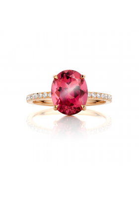 SLAETS Fine Jewellery Ring raspberry red tourmaline and diamond ring in 18kt rose gold