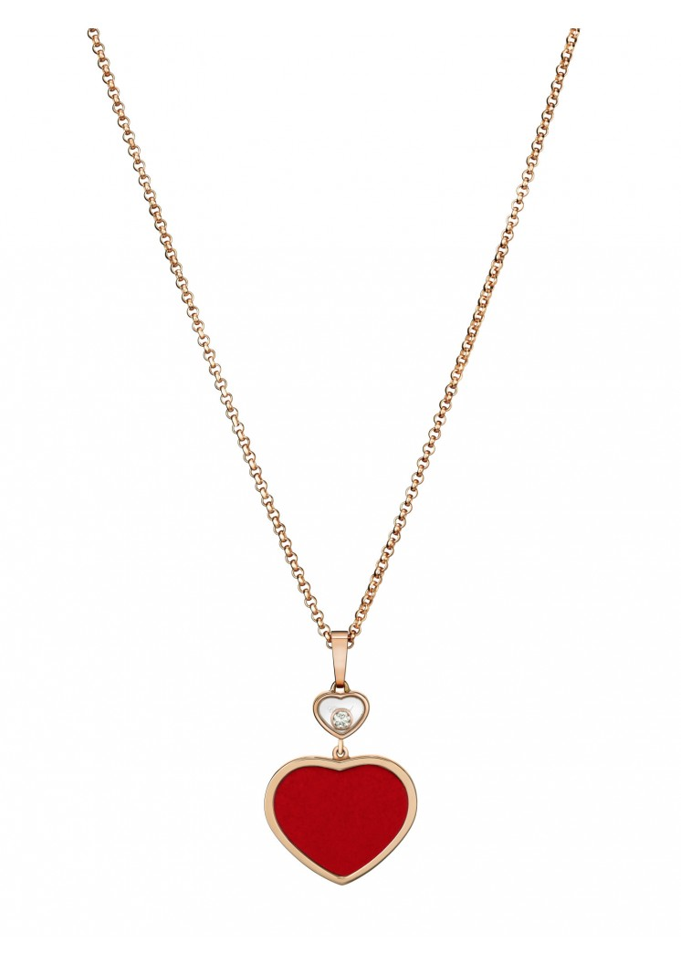 Chopard Happy Hearts Necklace Rose Gold And Red Stone Slaets